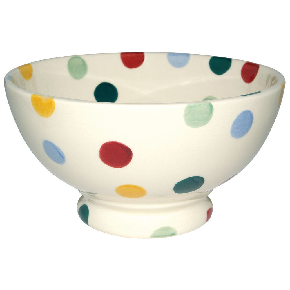 adorable and colorful polka dot dishes idea for bowl with red yellow orange and blue colors