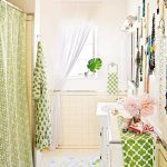 adorable bathroom design with green home garden curtain design with glass window and small vanity and area rug