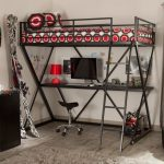 adorable black metal loft bed design with small stool and desk and red patterned bedding and storage and white washed wooden floor