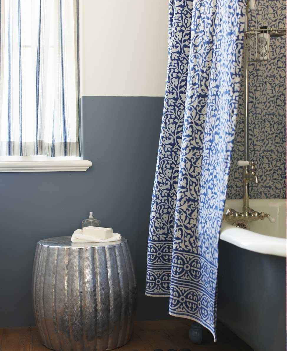 Adorable Blue Patterned Bohemian Shower Curtain Design With Pumpkin Table And Glass Window Luxurious Tub