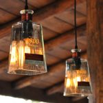 adorable diy cool hanging light design made of transparent square wine glass for insudtrial interior design