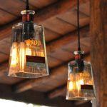 Adorable Diy Cool Hanging Light Design Made Of Transparent Square Wine Glass For Insudtrial Interior Design
