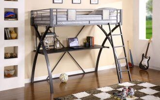 adorable gray black loft bed design with desk idea with ladder and plaid patterned rug and gray bedding and wall shelves