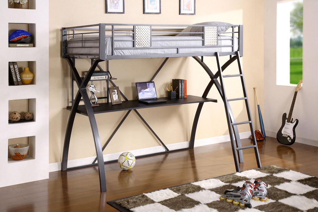 Adorable Gray Black Loft Bed