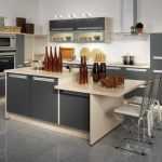 adorable gray kitchen design with white extended bar table with white metal stools and wine and gray flooring