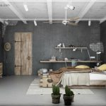 adorable gray  small modern prefab home with white beddinga nd white sofa and wall rack and storage and barn door