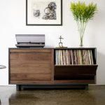 adorable ikea stereo cabinet design with bookshelf and potted plant and vintage chair and picture