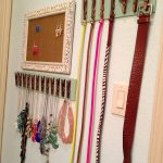adorable jewelry and belt storage ideas with unique frame and hook made of wood