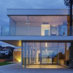 adorable large house design with open concept and two storey and glass facade idea