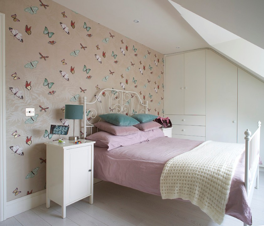 Adorable Loft Bedroom Idea With Skylight And Awesome Peach Floral Cool  Wallpaper For Wall With White