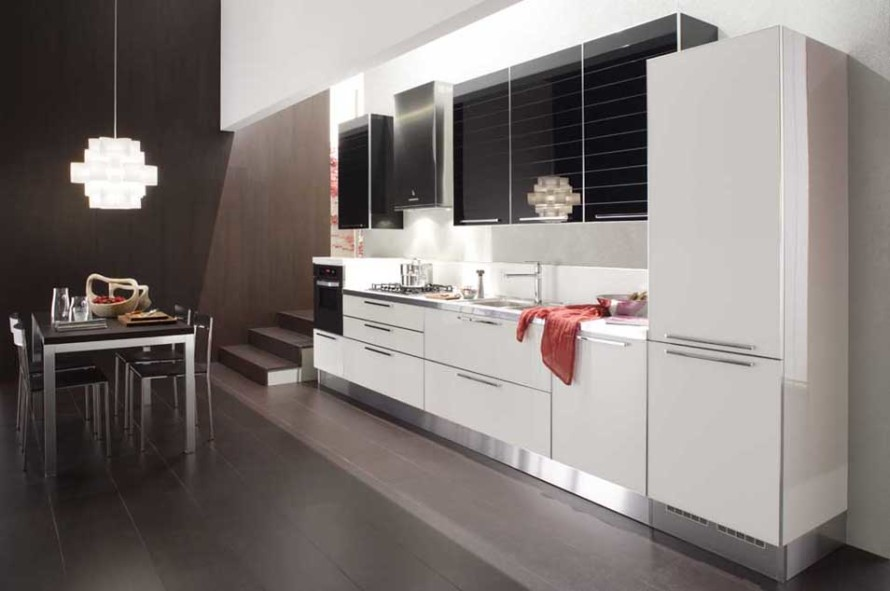 adorable modern black and white kitchen design with diy storage in black and white with bamboo flooring and dining space and chandelier