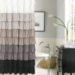 Adorable Ombre Gray Art Deco Shower Curtain Idea With Gray Wall And Black Wooden Dresser And Lily And Freestanding Faucet And Glass Window