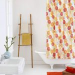 Adorable Orange Patterned Home Garden Curtain Design With Ladder Storage And White Sink And Red Rug And White Bathtub
