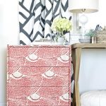 adorable spring mood hallway decoration with diy pink dresser with wooden table and white lamp and patterned white black curtain