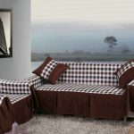 adorable table cloth patterned couch cover for sectional idea with brown color in the living room with ocean view and wall mirror