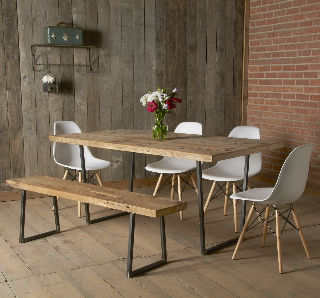 Adorable Vintage Wooden Dining Table Idea With White Chairs And Bench Brick Wall