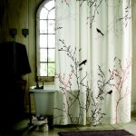 adorable white japanese shower curtain design with cherry blossom tree in pink and black tone and arched window