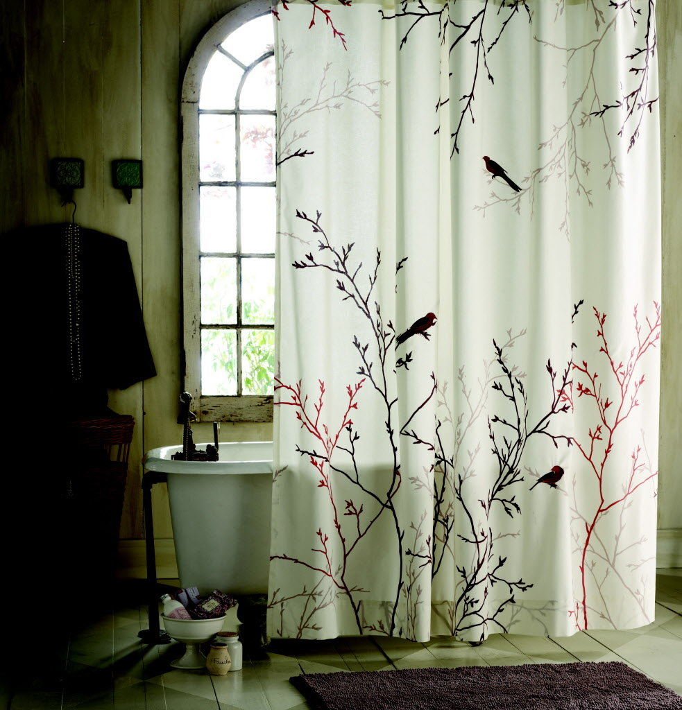 Adorable White Japanese Shower Curtain Design With Cherry Blossom Tree In Pink And Black Tone