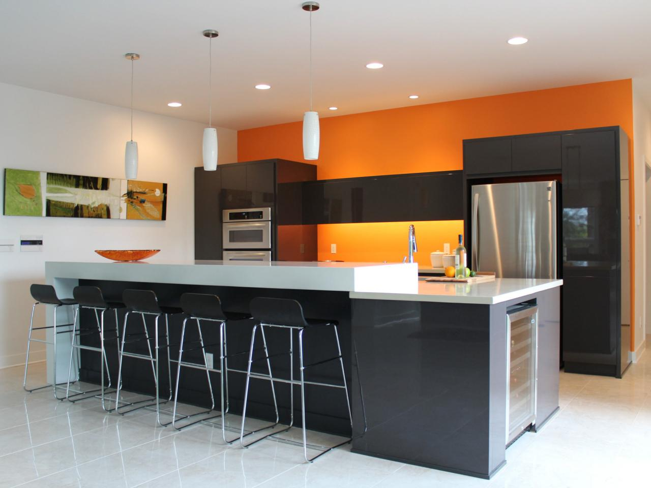 Adorable White Orange Color Kitchen Paint Idea With Wall Palette And Large  Island And Black Stools