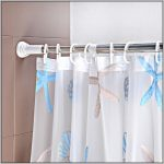 adorable white sheer patterned blind with starfish in pink and blue color with stainless steel rod tension curtain