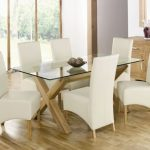 adorable white upholstered dining chair deisgn with rectangle glass dining table and wooden floor and glass window