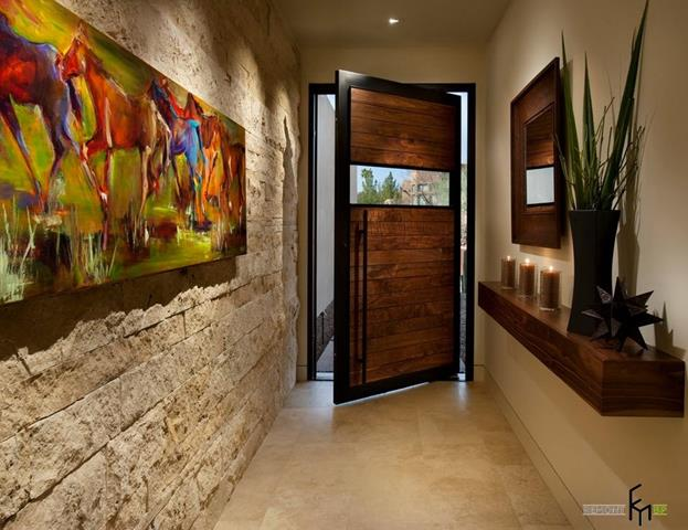 adorable wooden image front door idea with glass accent and stone wall and wall palette and wall racks and mirror