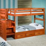adorable wooden low profile bunk bed idea with storage and blue beddng and white pillows and blue painted wall and wallpaper