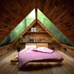 adorable zen loft bedroom idea with natural wooden ceiling and floor and purple bedding idea and triangle storage shape