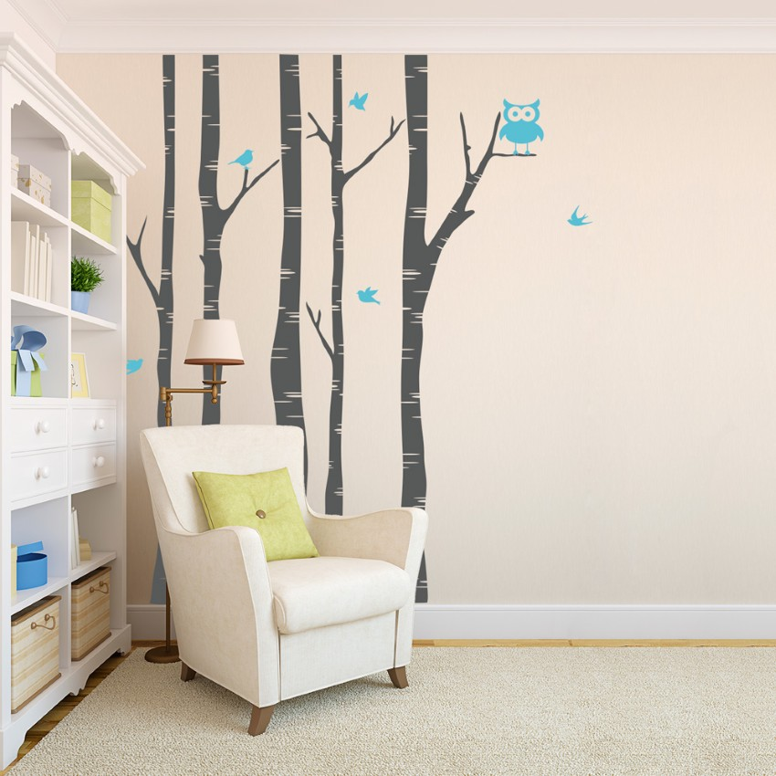 Best interior decoration with temporary wall covering for Bird and owl tree wall mural set