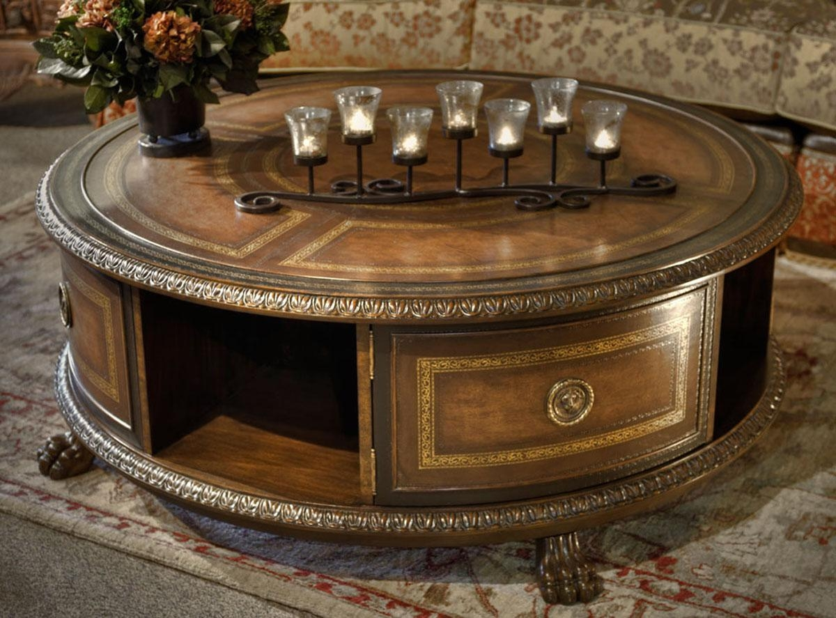 Amazing And Unique Round Coffee Tables With Storage With Craved Accent On  Its Edge Completed With
