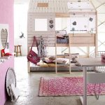 amazing-kids-treehouse-bed-for-girls-with-open-window-of-the-treehouse-and-ladder-and-in-light-color-combined-with-pink-color-and-white-table-and-chair