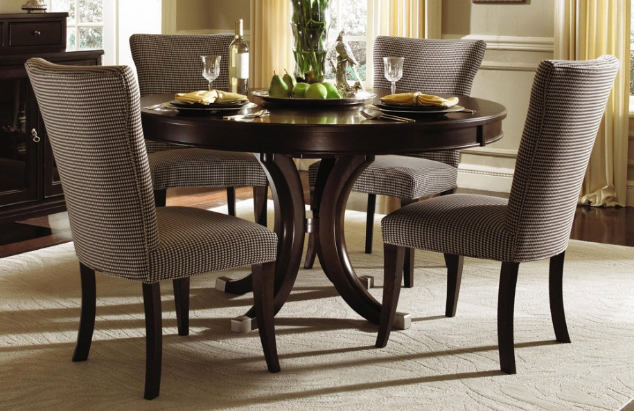 Amazing Purple Upholstered Chair Design With Round Woodne Dining Table On Creamy Area Rug Wooden