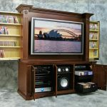 amazing wooden entertainment system furniture complted with dvd and cd storage plus classy wall decoration