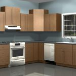 assymetrical diy kitchen storage idea made of beige wood and gray bacsplash with freestanding refrigerator