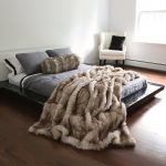 awesome faux fur blanket queen in modern bedroom ideas with modern low platform bed  and white comfy armchair and attractive wood floor