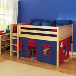awesome full size toddler bed for boys with blue and red bedding plus beige t=rug on hardwood floor plus wooden dresser and bookcase