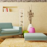 awsome soft blue sofa design with rectangle pouf on creamy area rug with potted plants in white and pink color and ladder storage and creamy panel board and cool wallpaper for wall