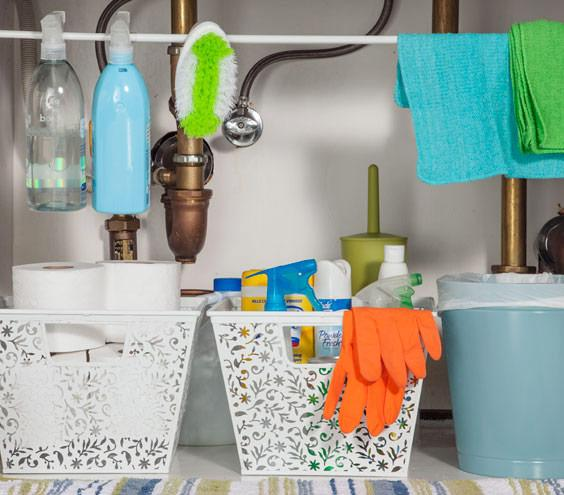 Bathroom Sink Organizer For Keeping Cleaning Supplies And