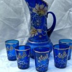 Beautiful And Antique Northwood Painted With Enamel Floral Cobalt Blue Lemonade Pitcher And Glass Set On Ebay