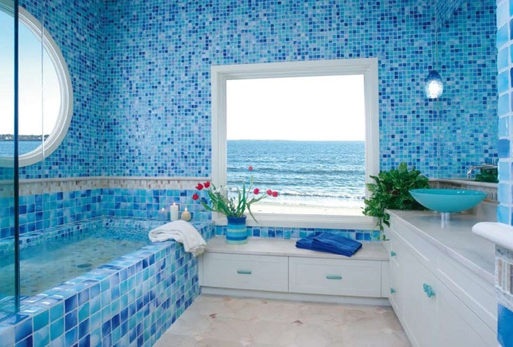 beautiful-and-elegant-sea-themed-with-bright-blue-and-white-color-with-square-and-round-windows-and-blue-sink-and-white-cabinets-and-flower