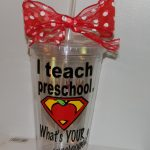 beautiful minnie glass design with creative superman pattern for daycare teacher gifts design