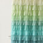 Beautiful Ombre Art Deco Shower Curtain Idea In White Yellow Green And Blue Color For Freestanding White Bathtub