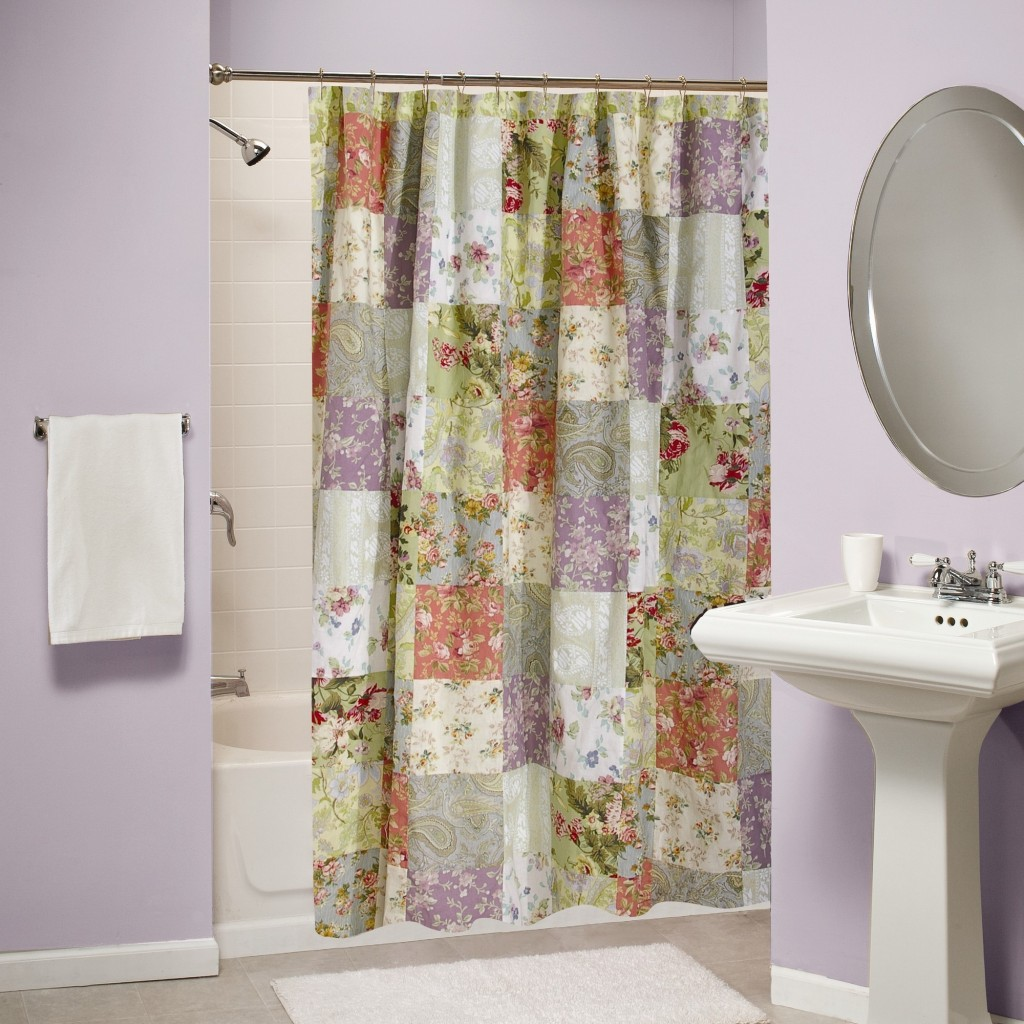 Funky shower curtains - Beautiful Plaid Pattern Bohemian Shower Curtain Ida With Rod And Tub And White Freestanding Sink And