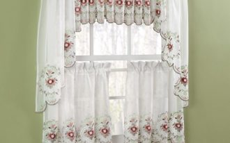 beautiful white jcpenney kitchen curtain design with sleeve accent with red floral pattern and shorter bottom design