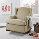 beige-baby-relax-harlow-wingback-rocking-chair-near-white-border-glass-window-and-red-furs-picture-on-white-wall-also-toys-and-doll-on-the-grey-carpet