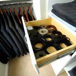 belt storage ideas in rack decorated in modern closet ideas