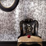 best cool wallpaper for wall with gray cherry blossom pattern and round wall mirror and black wooden carved chair with creamy bolster