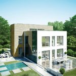 best energy home efficient design with glass window and open concept and outdoor pool and landscape