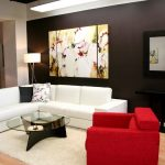 best living room design with white and red sofa ideas with round glass table and white area rug and wooden floor and black siding paint and wall palette