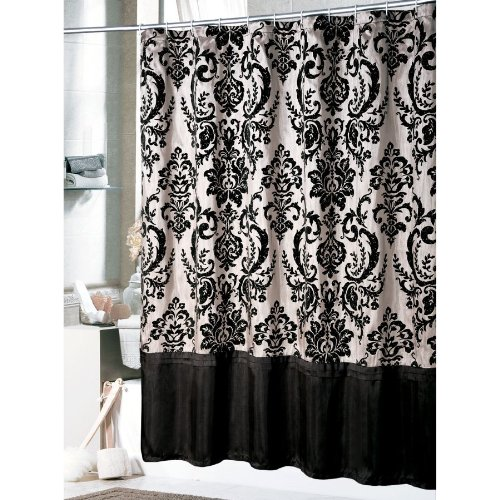 Curtains Ideas black shower curtain with white flower : Classic and Lovable Victorian Shower Curtains | HomesFeed